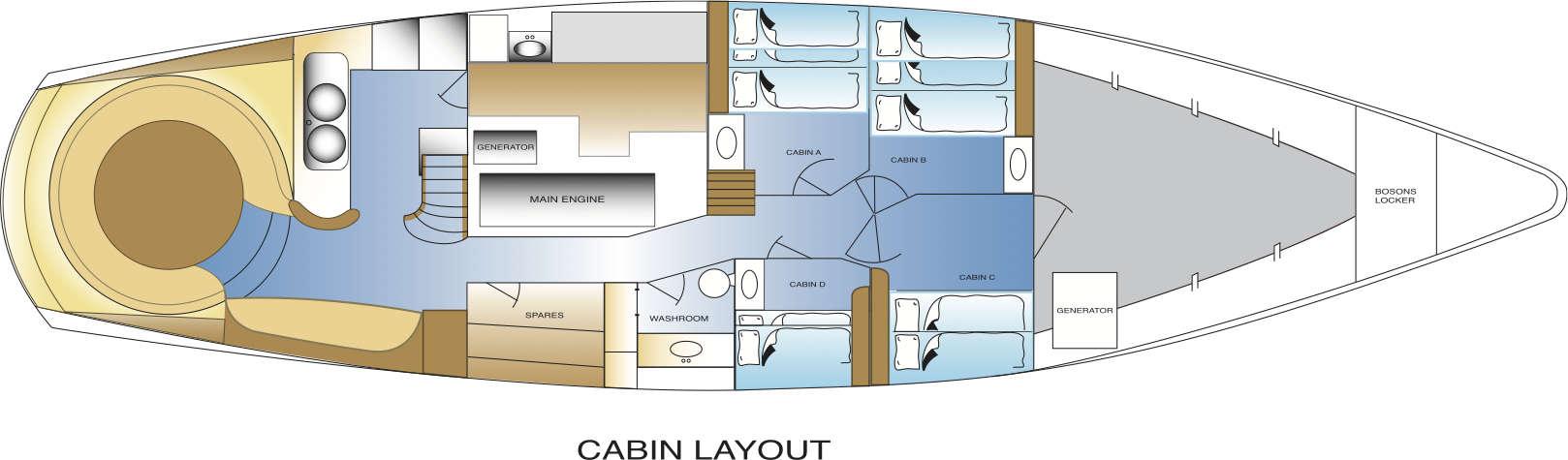 yacht Australis cabin layout antarctica