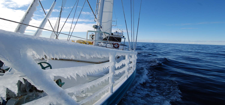 sailing yach Australis iced up